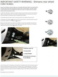 Veiligheidswaarschuwing Shimano roller brakes