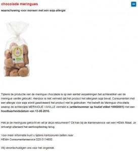 Allergiewaarschuwing HEMA chocolade meringues