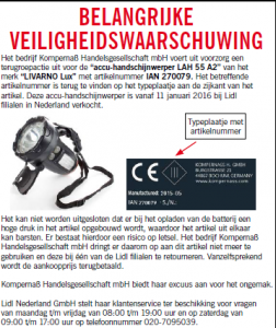Terughaalactie accu-handschijnwerper (Lidl)