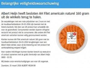 Terughaalactie Filet Americain Albert Heijn