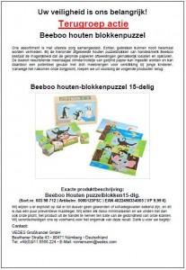 Terughaalactie Beeboo houten-blokkenpuzzel