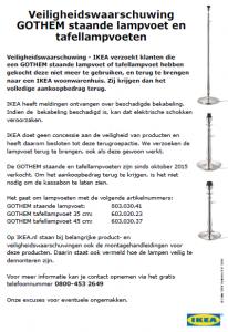 Terughaalactie IKEA lampen GOTHEM