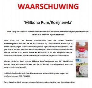 Allergiewaarschuwing Milbona Rum/Rozijnenvla