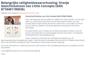 Veiligheidswaarschuwing Oranje Gezichtstattoos (Action)