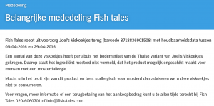 Allergiewaarschuwing Fish Tales Joel's Viskoekjes