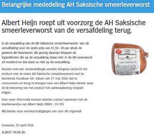 Allergiewaarschuwing AH Saksische Smeerleverworst