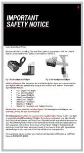Veiligheidswaarschuwing Specialized Flux en Stix fietsverlichting
