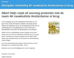 Allergiewaarschuwing AH rauwkostmix Amsterdamse Ui