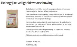 Allergiewaarschuwing Banketbakkerij van Strien Cookies (AH)
