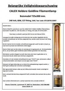 Terughaalactie Calex Goldline Filamentlamp