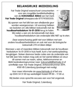 Terughaalactie Fair Trade Original Kokosmelk 400ml