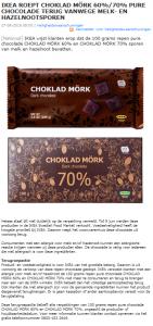 Allergiewaarschuwing IKEA CHOKLAD MÖRK 60% en 70% chocoladerepen