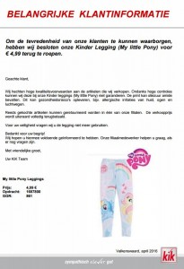Terughaalactie kinderlegging 'My Little Pony' KiK