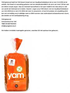 Terughaalactie YAM glutenvrij desembrood