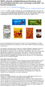 Allergiewaarschuwing chocoladeproducten IKEA