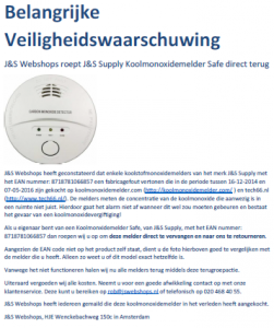 Terughaalactie J&S Supply koolmonoxidemelder 'Safe'