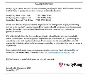 Productwaarschuwing Fruity King sappen