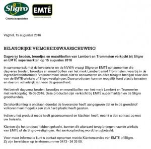 Veiligheidswaarschuwing broodproducten Lambèr en Trommelen (Sligro / EMTÉ)