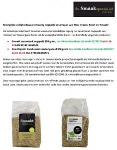 Terughaalactie sesamzaad ongepeld Smaakt en Raw Organic Food