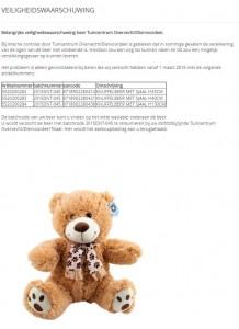 Terughaalactie knuffelbeer Tuincentrum Overvecht / Diervoordeel