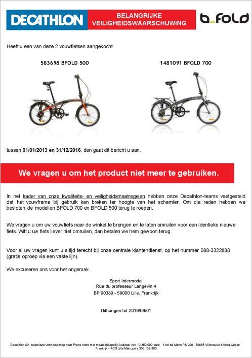 d8adb054fc0 Sportwinkelketen Decathlon roept twee typen BFOLD vouwfietsen terug. Uit  onderzoek is gebleken dat het frame van de fiets bij de scharnier kan  breken.