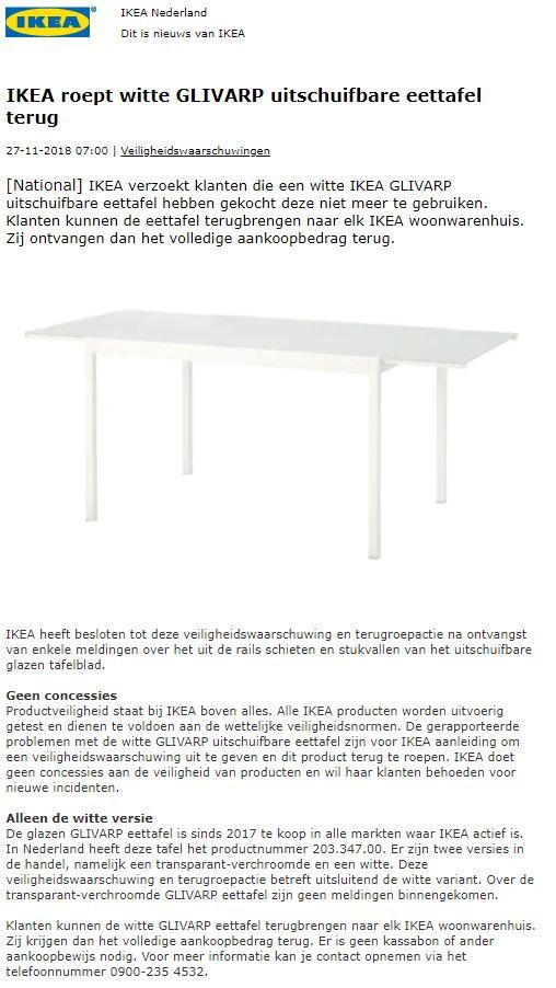 Ikea Tafelblad Wit.Terughaalactie Ikea Eettafel Glivarp Wit