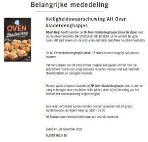 Advertentie terugroepactie AH Oven Bladerdeeghapjes (versie 2)