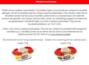 Advertentie allergiewaarschuwing Johma Kip-Mango Pistachenootjes salade / Oude kaas-pesto salade