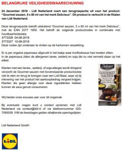 Advertentie allergiewaarschuwing Lidl Delicieux Gourmetsauzen