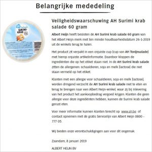 Advertentie allergiewaarschuwing AH Surimi krab salade