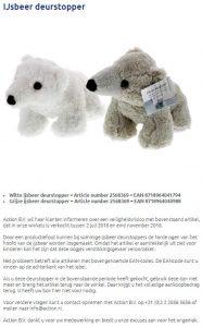 Advertentie terugroepactie Action deurstopper ijsbeer