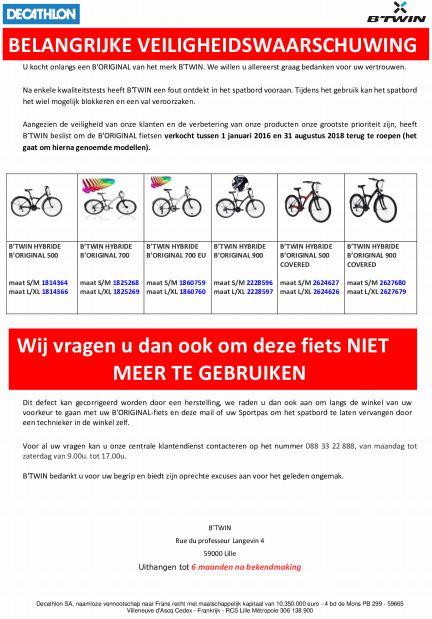 2455e9da392 Sportwinkelketen Decathlon roept een aantal B'Twin B'Original fietsen  terug. Door een fout is het mogelijk dat het spatbord van het voorwiel er  voor zorgt ...