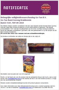 Advertentie allergiewaarschuwing Go-Tan Bami Goreng Kruidenmix