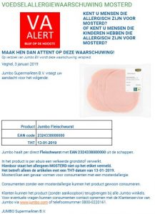 Advertentie allergiewaarschuwing Jumbo Fleischwurst
