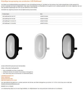 Advertentie terugroepactie LEDVANCE LED Bulkhead armaturen