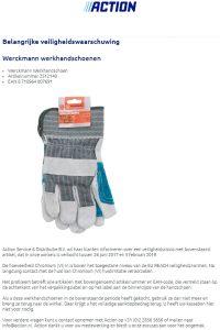 Advertentie terugroepactie Werckmann werkhandschoenen Action