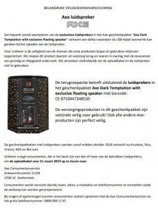 Advertentie Axe luidspreker Axe Dark Temptation with exclusive floating speaker