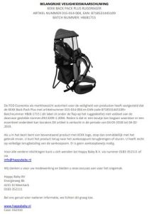 Advertentie KEKK Back Pack Plus rugdrager