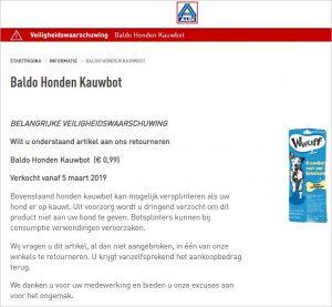 Advertentie terugroepactie Baldo Honden kauwbot ALDI