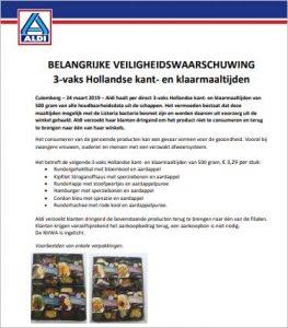 Advertentie terugroepactie maaltijden ALDI
