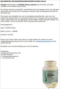 Advertentie ALFytal MultiMin Stress capsules