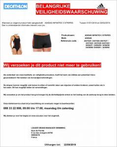 Advertentie terugroepactie adidas Infinitex zwemkleding Decathlon