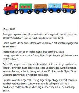 Advertentie terugroepactie houten trein met magneet Flying Tiger Copenhagen