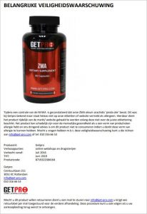 Advertentie allergiewaarschuwing Getpro ZMA oleum arachidis voedingssupplement