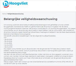 Advertentie terugroepactie Andijviestamppot met gehaktbal Hoogvliet