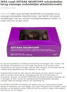 Advertentie allergiewaarschuwing Sötsak Skumtopp schuimbollen IKEA
