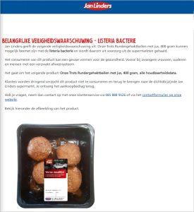 Advertentie terugroepactie Jan Linders Onze Trots gehaktballen