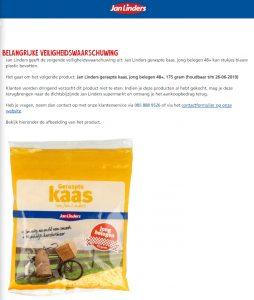 Advertentie terugroepactie Jan Linders geraspte kaas