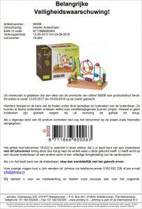 Advertentie terugroepactie Johntoy houten kralenbaan