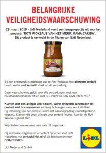 Advertentie allergiewaarschuwing Mama Cariba Roti Woksaus (Lidl)